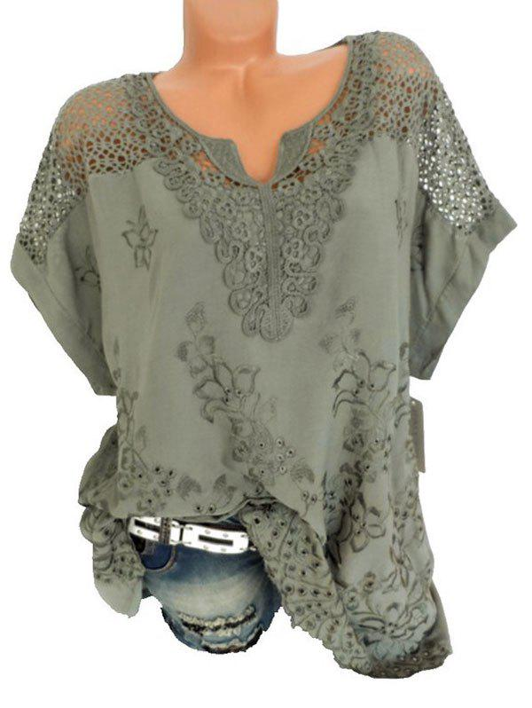 Plus Size Batwing Sleeve Flower Embroidered Blouse - DEEP GREEN 5X