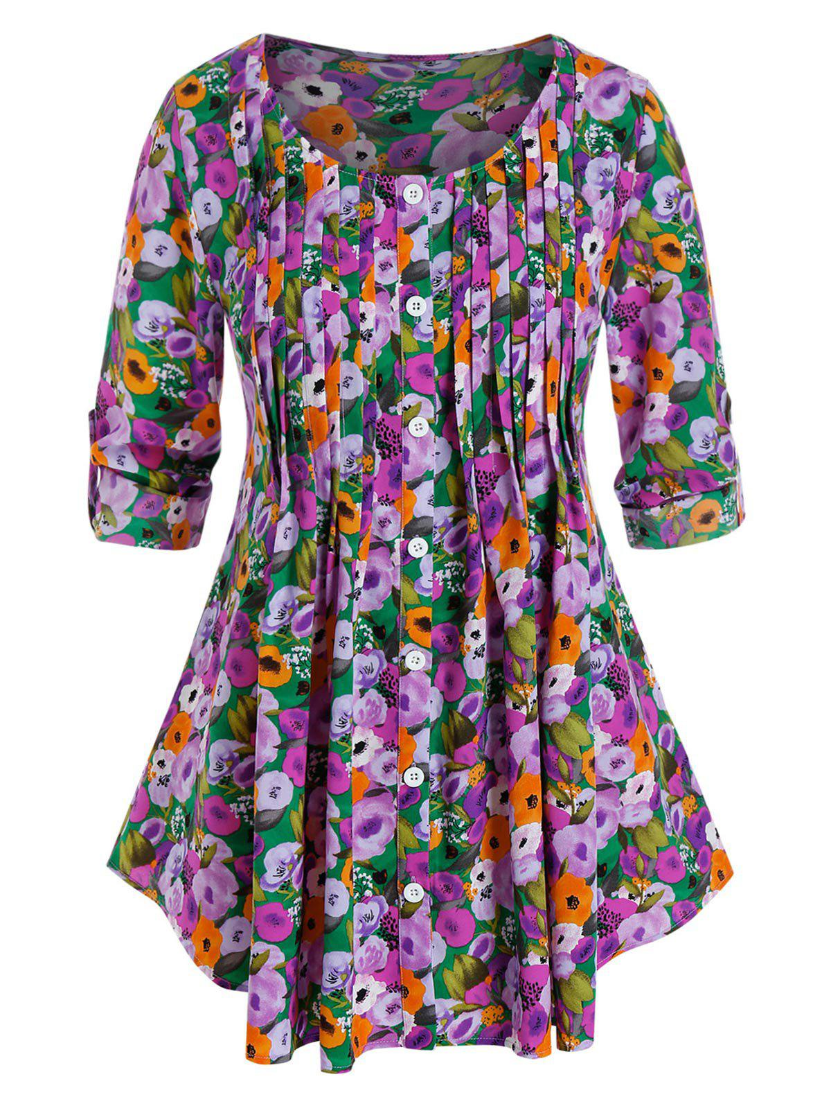 Plus Size Flower Print Pleated Tab Sleeve Tunic Blouse - multicolor 5X