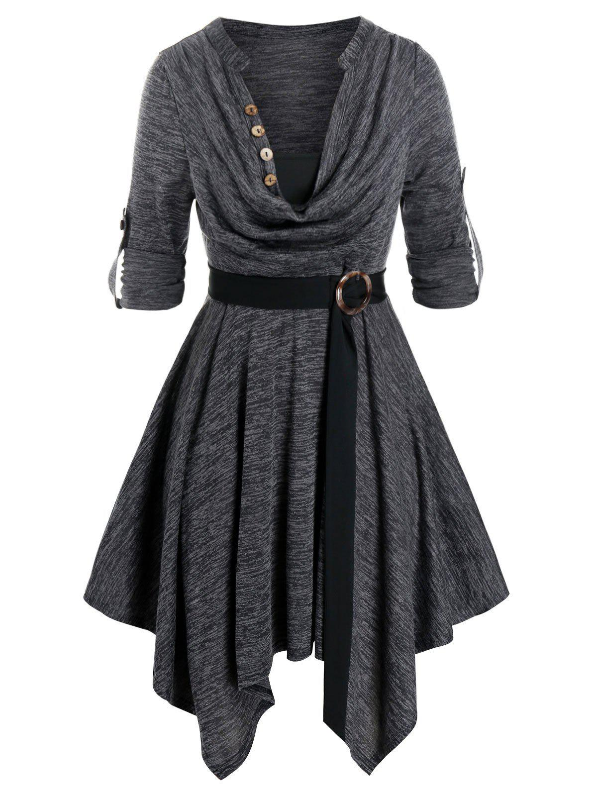 Plus Size Space Dye Cowl Neck Handkerchief Roll Up Sleeve Dress - GRAY L