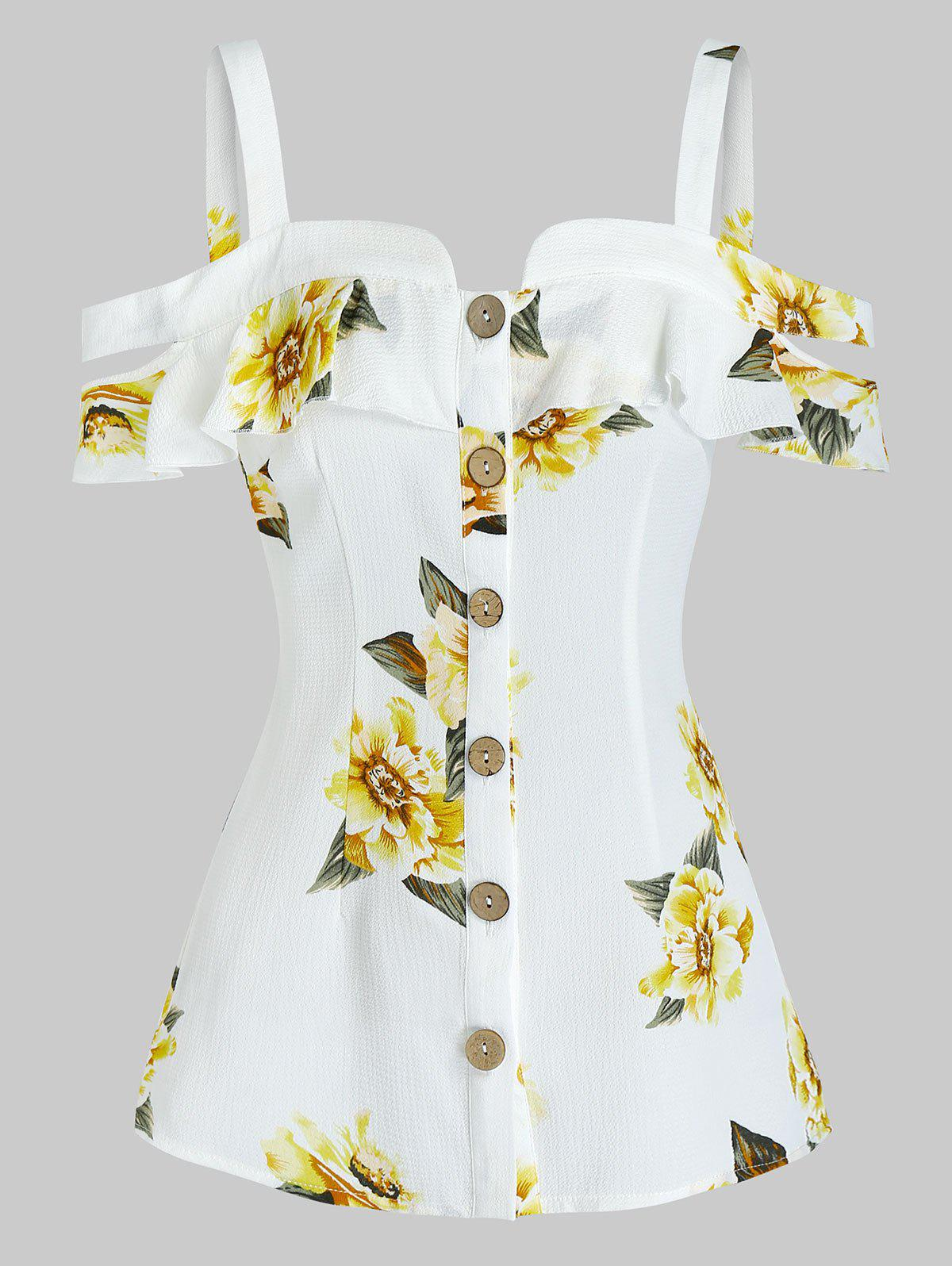 Cold Shoulder Floral Print Blouse - YELLOW S