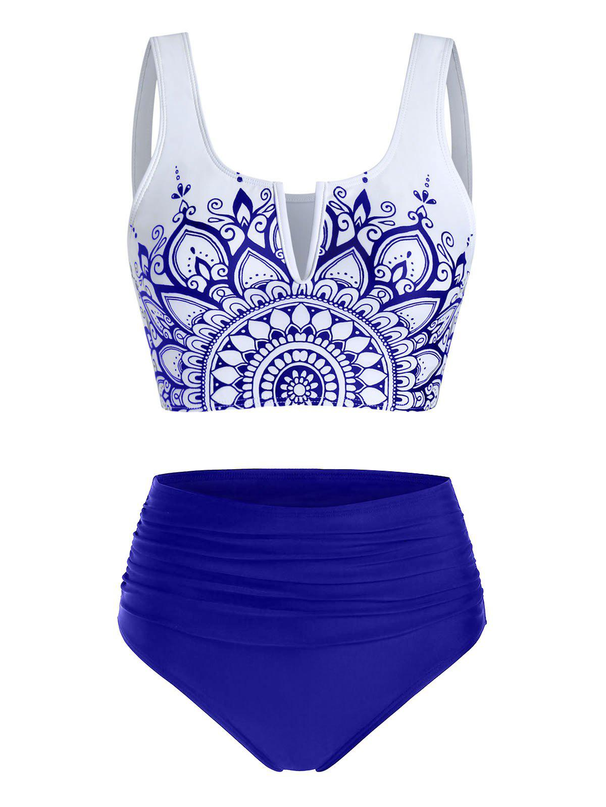 Flower Print V Notched High Waisted Tankini Swimwear - DEEP BLUE M