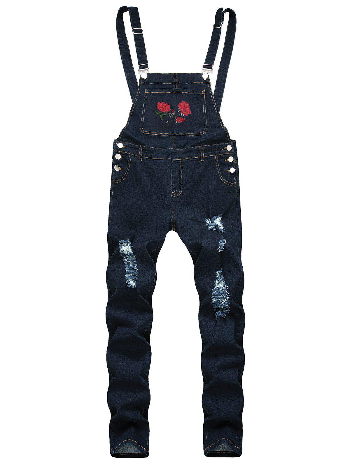 Ripped Flower Embroidered Tapered Overall Jeans - DEEP BLUE 40
