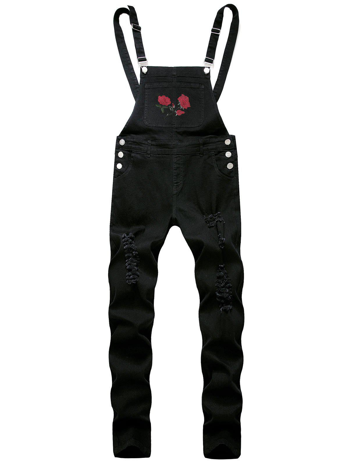 Ripped Flower Embroidered Tapered Overall Jeans - BLACK 32