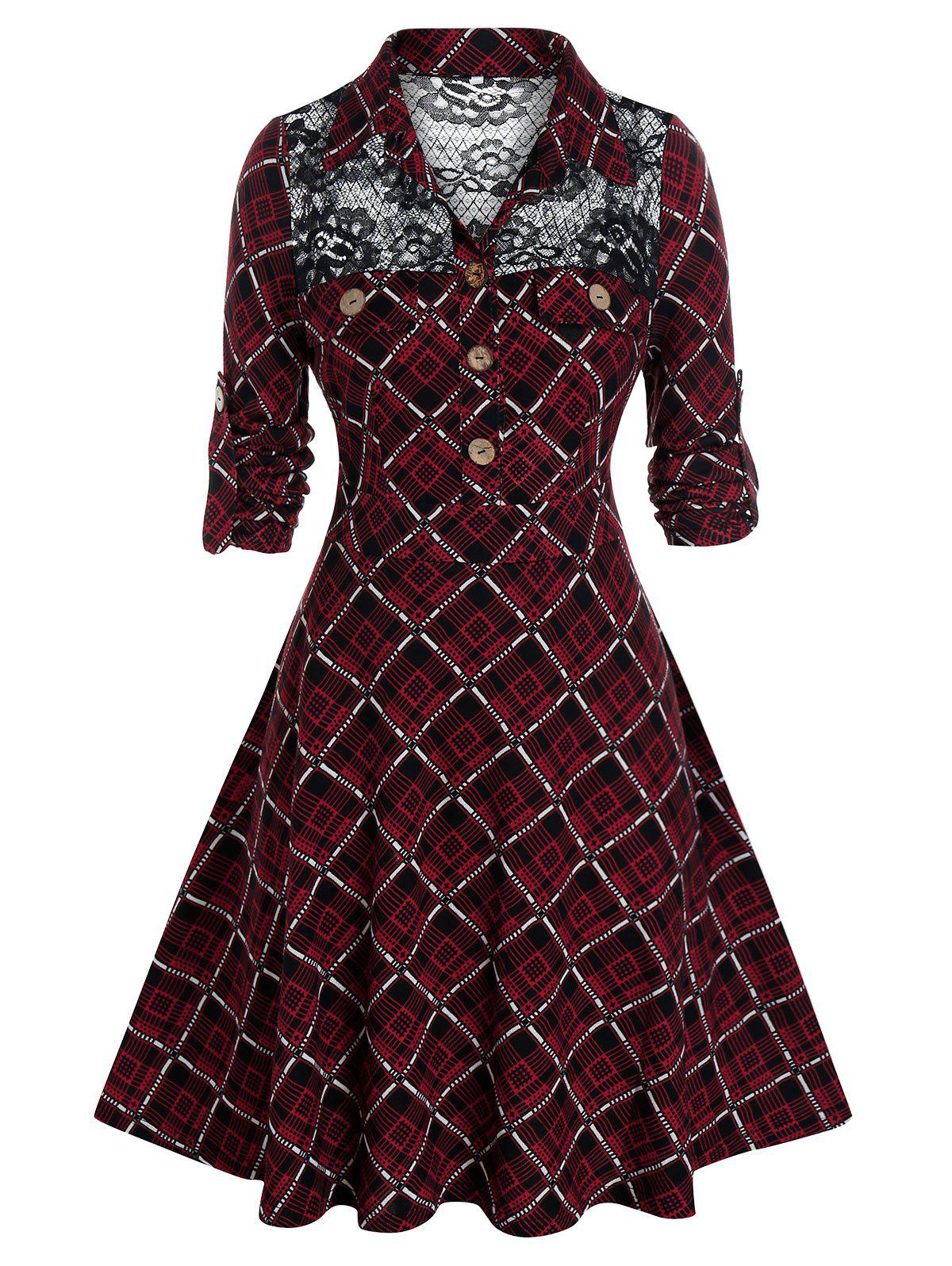 Plus Size Plaid Lace Panel Shirt Dress - RED WINE 4X
