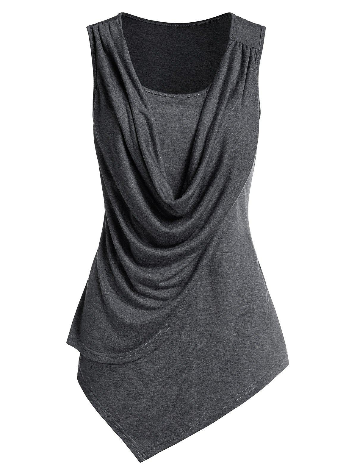 Asymmetric Draped Overlap Tank Top - ASH GRAY 3XL