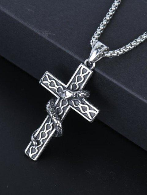 Snake Wrapped Cross Pendant Chain Necklace