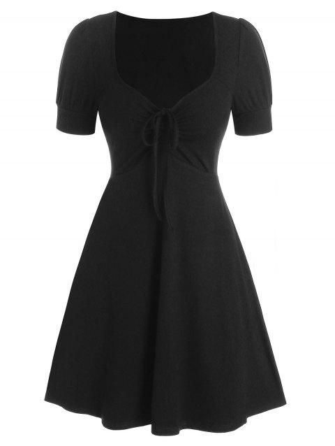Short Sleeve Cinched Ribbed Flare Dress
