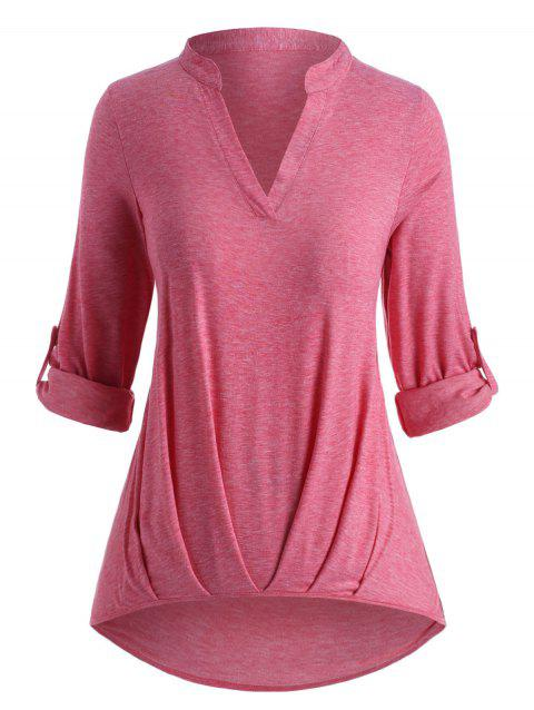 Plus Size Roll Up Sleeve Ruched Hem T Shirt