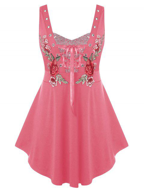 Plus Size Lace Up Sequin Embroidered Tank Top