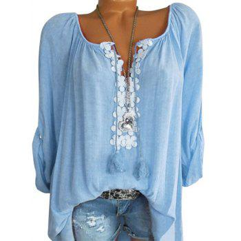 Plus Size Roll Up Sleeve Lace Guipure Blouse