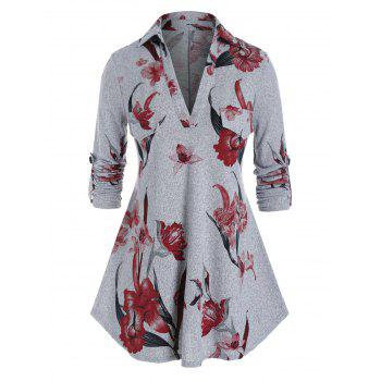 Plus Size Flower Print Knit Roll Up Sleeve Tunic Tee