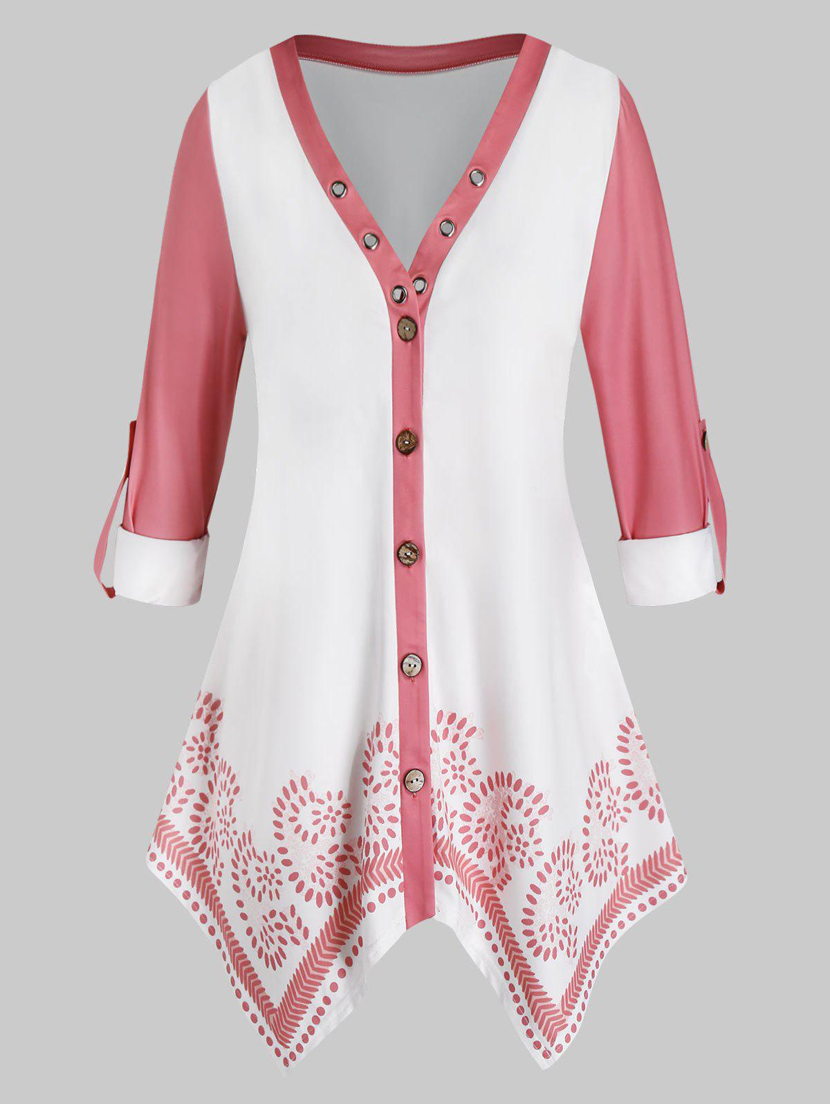 Plus Size Roll Up Sleeves Button Up Handkerchief Blouse - PIG PINK 5X
