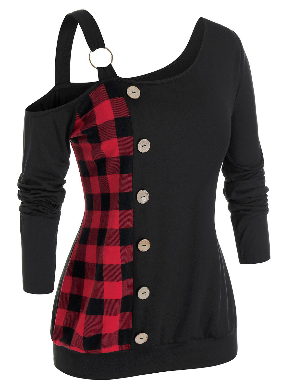 Plus Size Plaid Skew Neck Sweatshirt - BLACK 5X