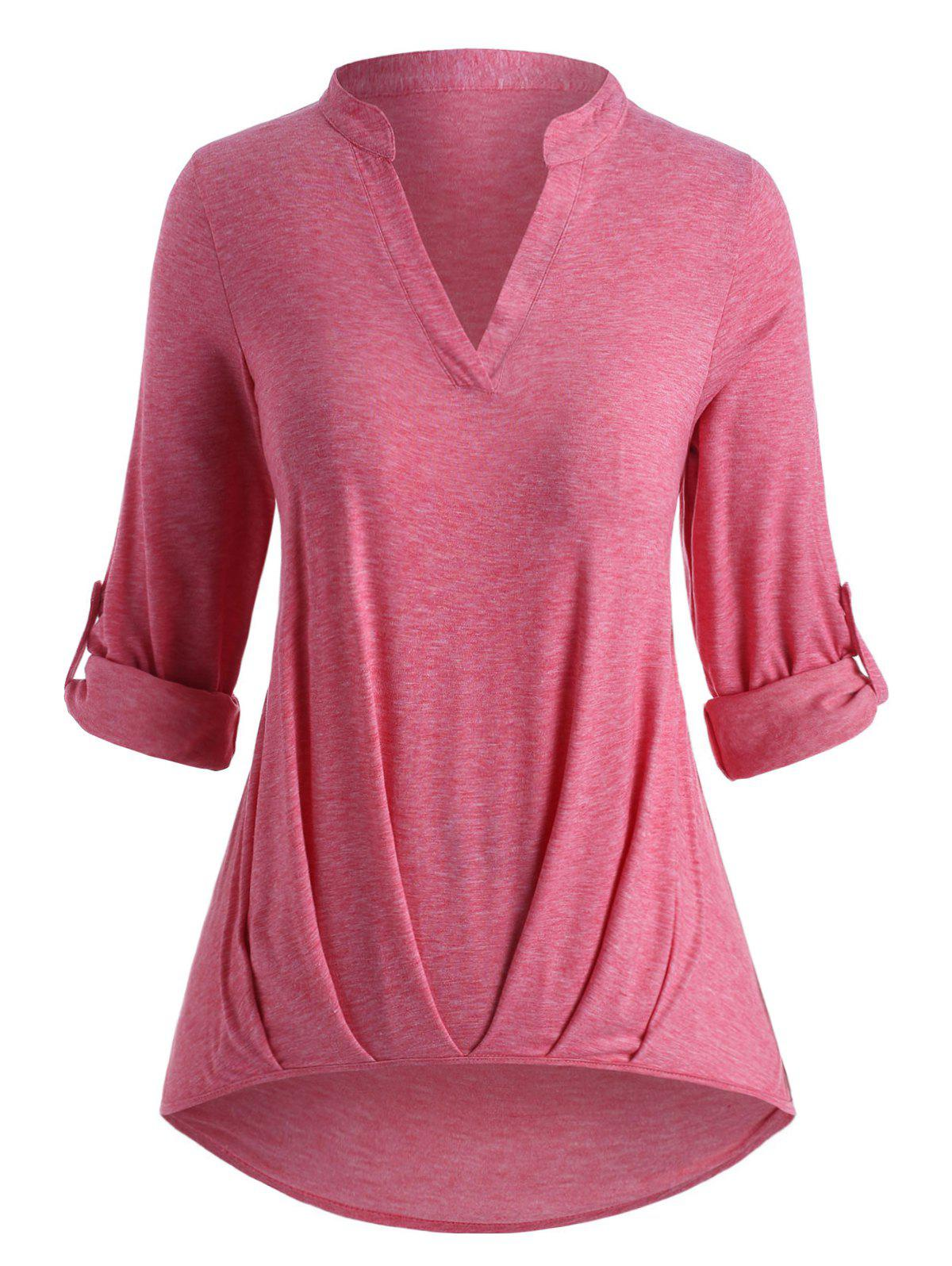 Plus Size Roll Up Sleeve Ruched Hem T Shirt - LIGHT PINK 5X