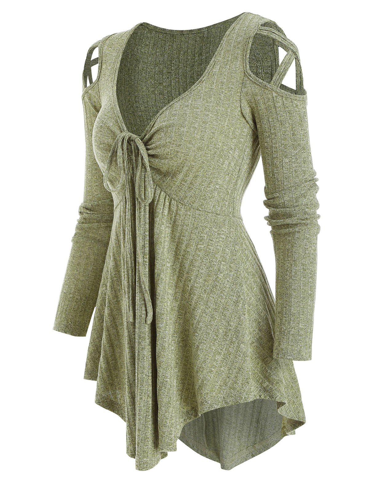 Cold Shoulder Front Drawstring Ribbed Asymmetrical Knitwear - DARK SEA GREEN S