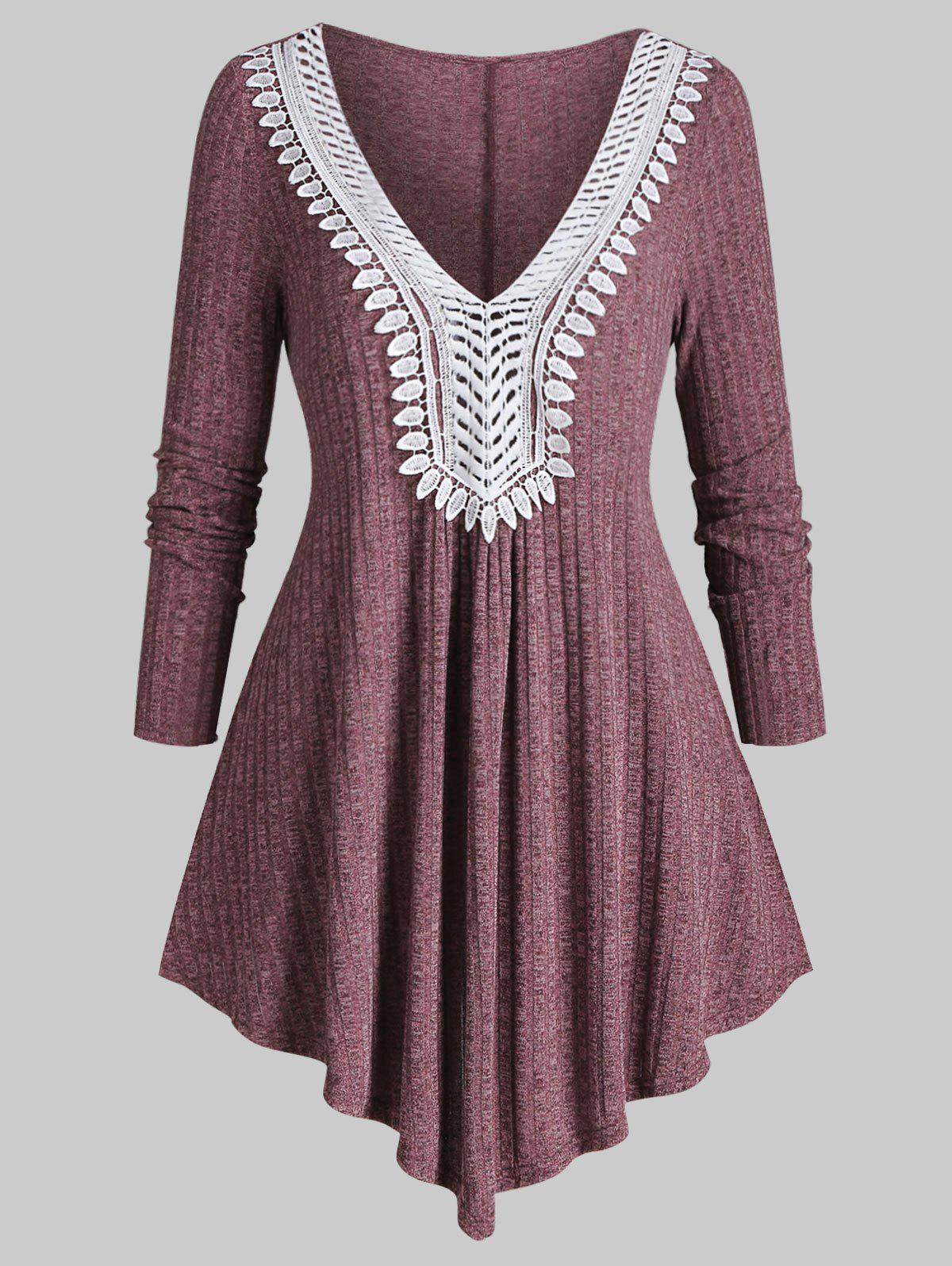 Plus Size Contrast Lace Ribbed Knitwear - RED WINE L