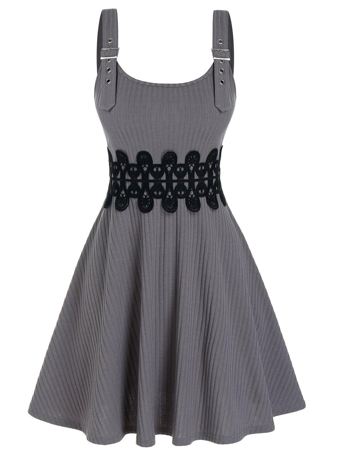 Lace Panel Buckle Strap Knitted Cami A Line Dress - LIGHT GRAY 3XL