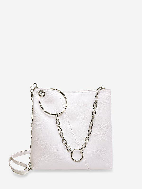 O-ring Chain Leather Crossbody Bag - WHITE