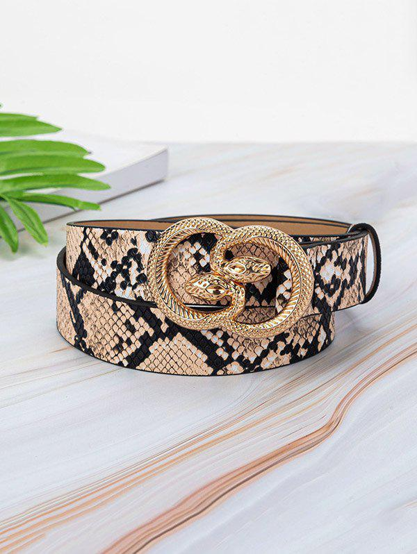 Animal Embossed Leather Snake Buckle Belt - multicolor