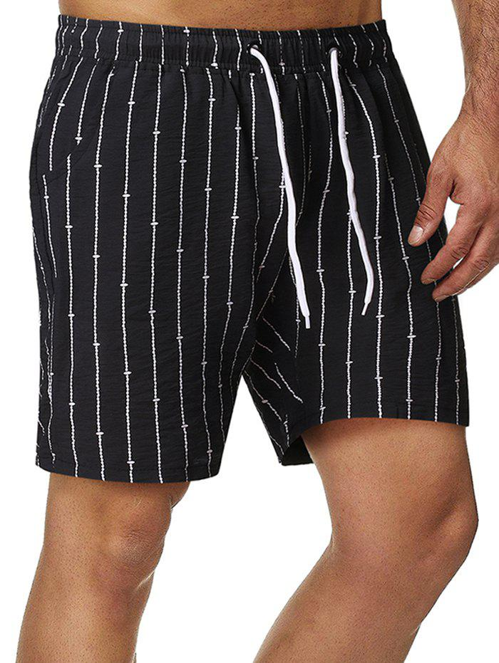 Stripes Pattern Drawstring Shorts - BLACK S