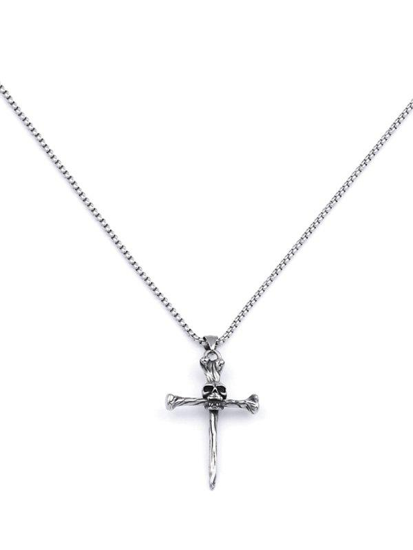 Skull Cross Pendant Chain Necklace - GUNMETAL