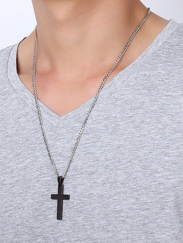 Brief Cross Pendant Stainless Steel Necklace - BLACK