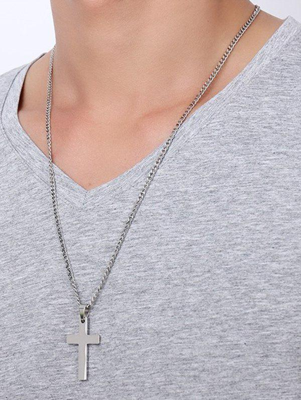 Brief Cross Pendant Stainless Steel Necklace - SILVER