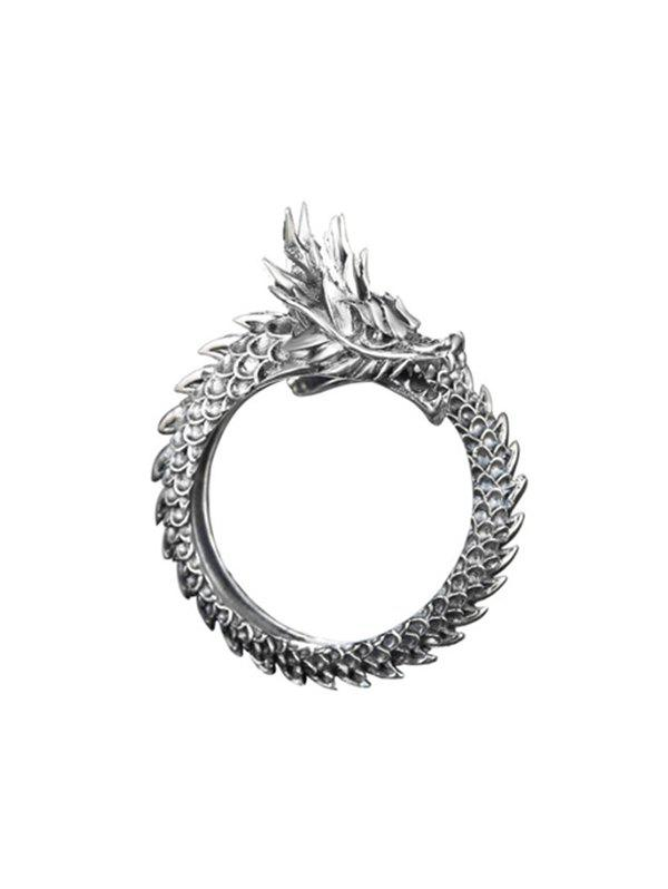 Chinese Style Carved Dragon Open Ring - GUNMETAL