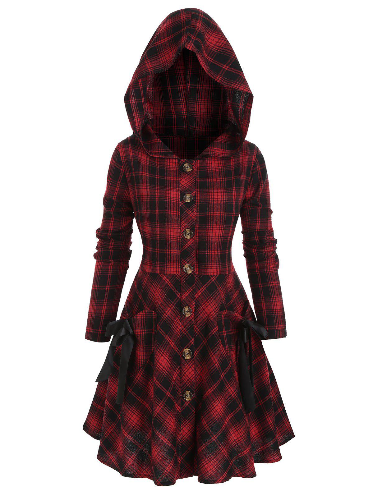Plus Size Plaid Hooded Tie Skirted Button Front Coat - multicolor 5X