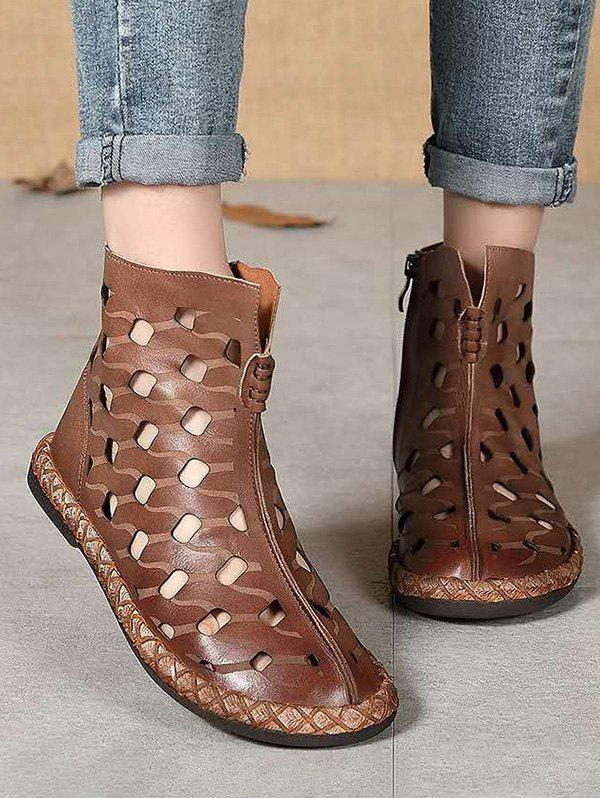 Hollow Out Leather Ankle Flat Boots - COFFEE EU 40