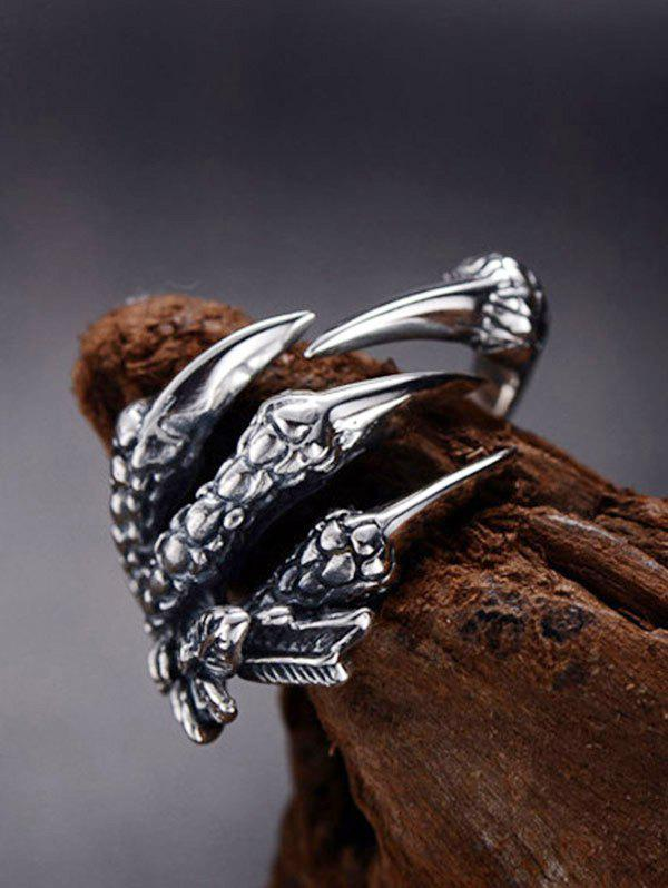 Stainless Steel Dragon Claw Open Ring - GUNMETAL
