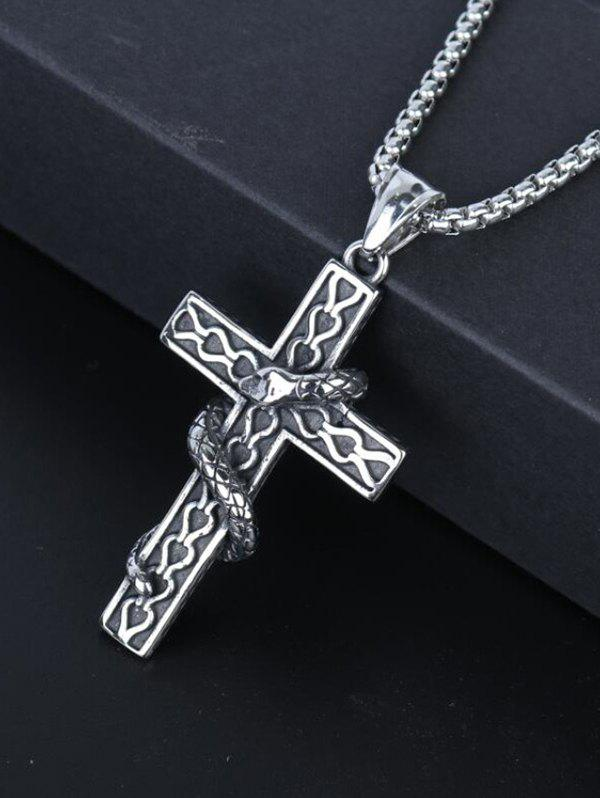 Snake Wrapped Cross Pendant Chain Necklace - GUNMETAL