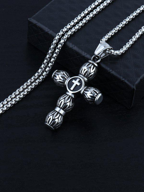 Cylindrical Cross Pendant Stainless Steel Necklace - GUNMETAL