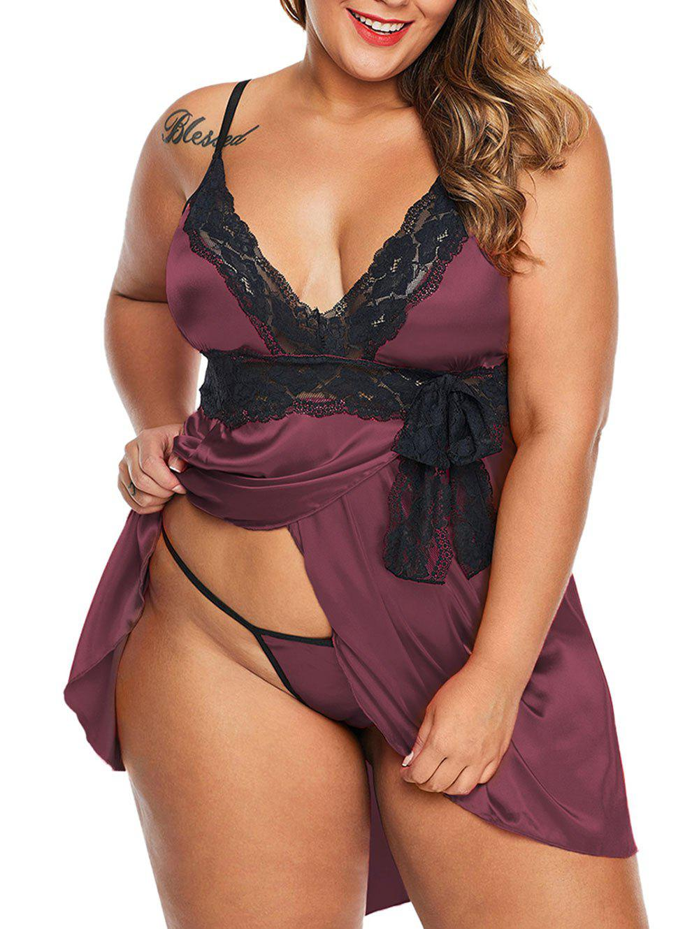 Lace Panel Satin Bowknot Overlap T Back Plus Size Babydoll - DEEP RED 3X