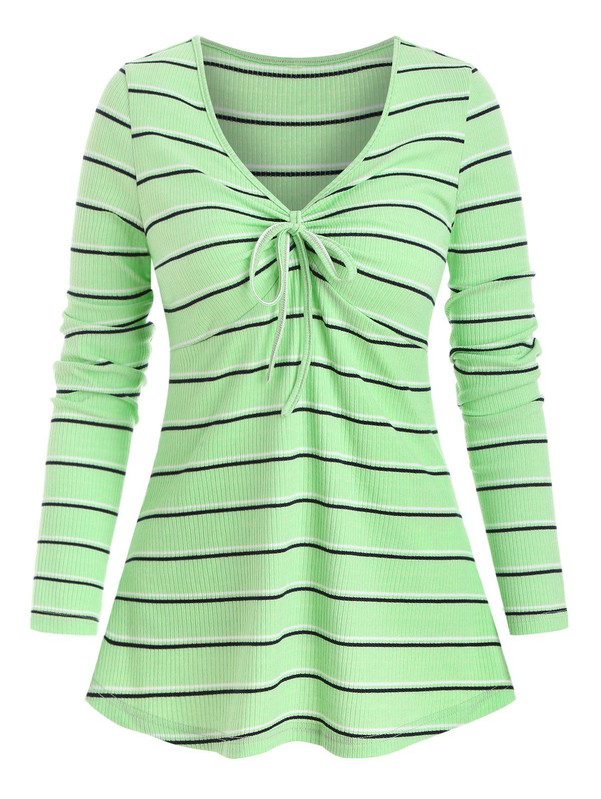 Striped Pattern Bowknot Detail Ribbed T-shirt - LIGHT GREEN M