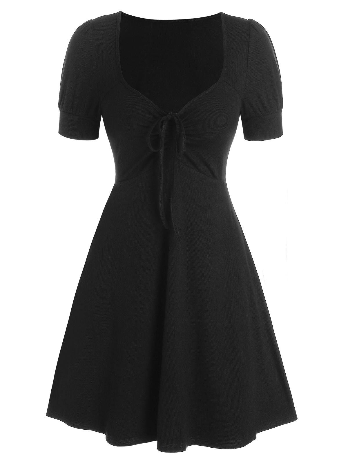 Short Sleeve Cinched Ribbed Flare Dress - BLACK 3XL