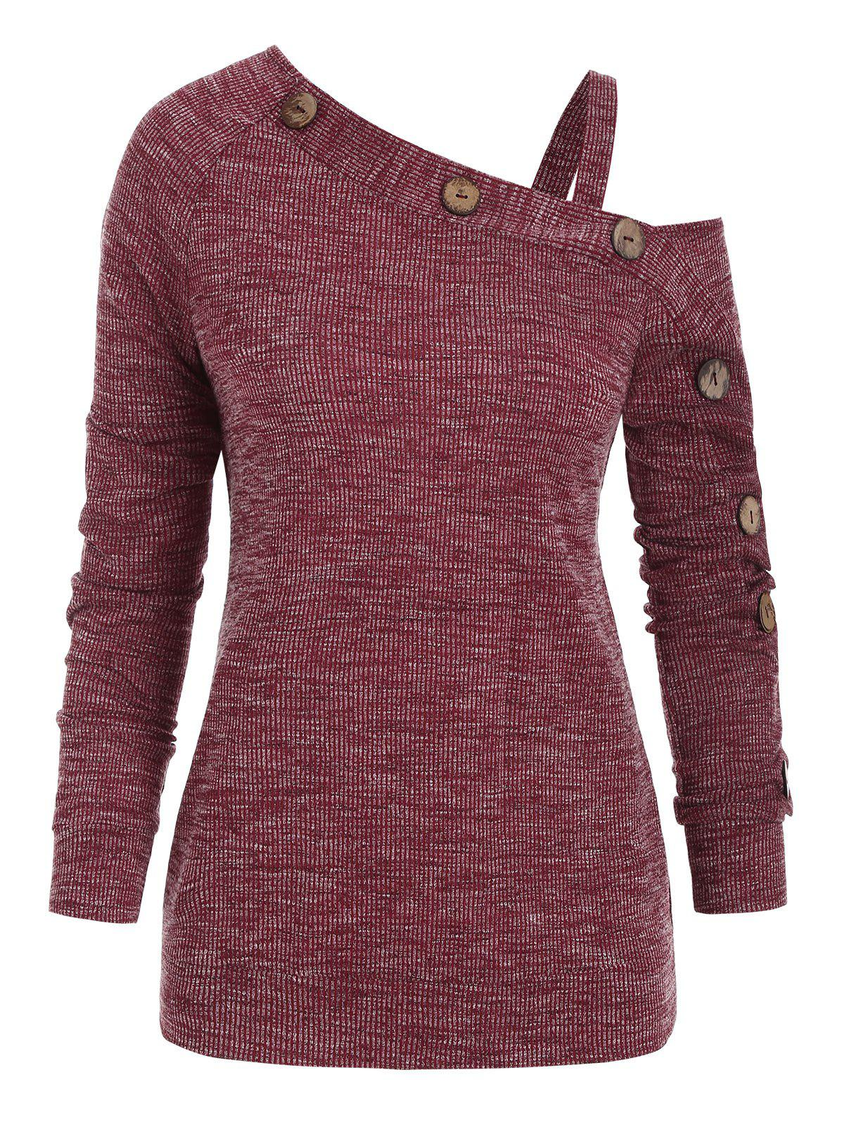 Cold Shoulder Mock Button Pullover Knitwear - RED WINE M