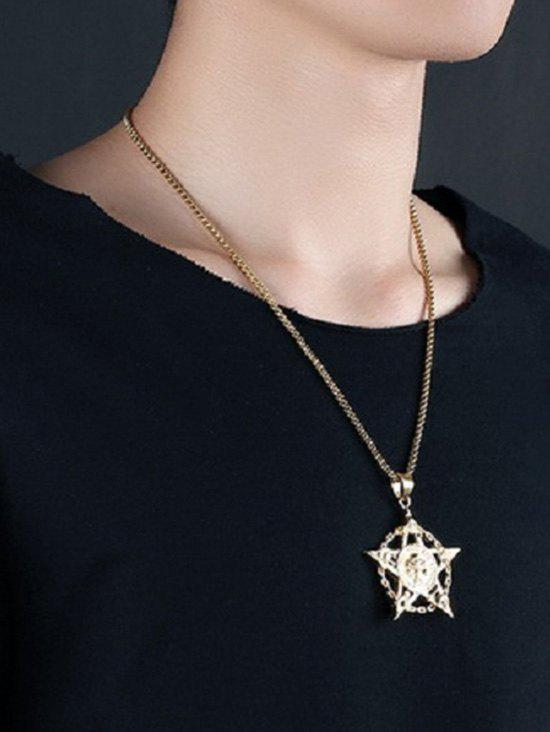 Skull Star Hollow Out Pendant Necklace - GOLDEN