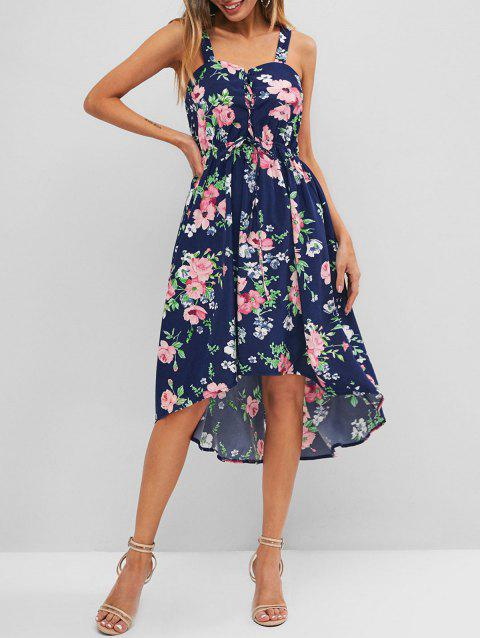 Flower Print Lace Up High Low Dress