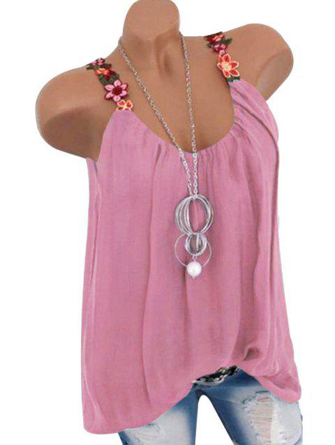 Flower Embroidered Tunic Tank Top