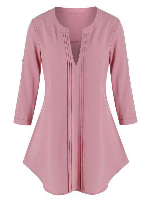 Plus Size Pintuck V Notch Roll Up Sleeve Tunic Blouse