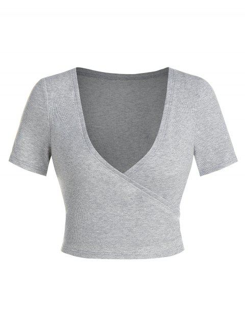 Plunge Neck Ribbed Cropped Surplice T-shirt