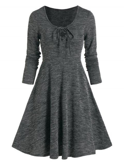 Lace Up Knitted Mini A Line Dress