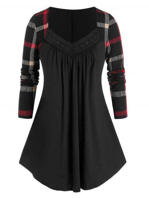 Plus Size Plaid Sleeve Lace Tunic Top