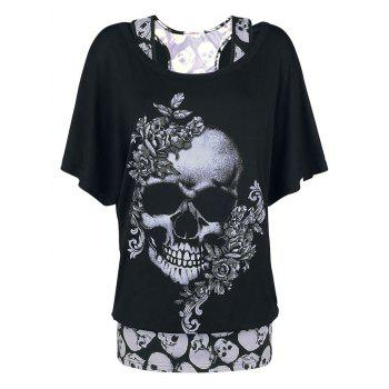 Plus Size Halloween Floral Skull Print T-shirt and Tank Top Set