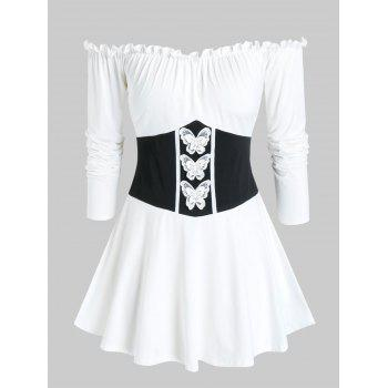 Plus Off Shoulder Frilled Butterfly Long Sleeve Tee