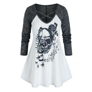 Plus Size Skull Musical Notes Criss Cross Long Sleeve Tee
