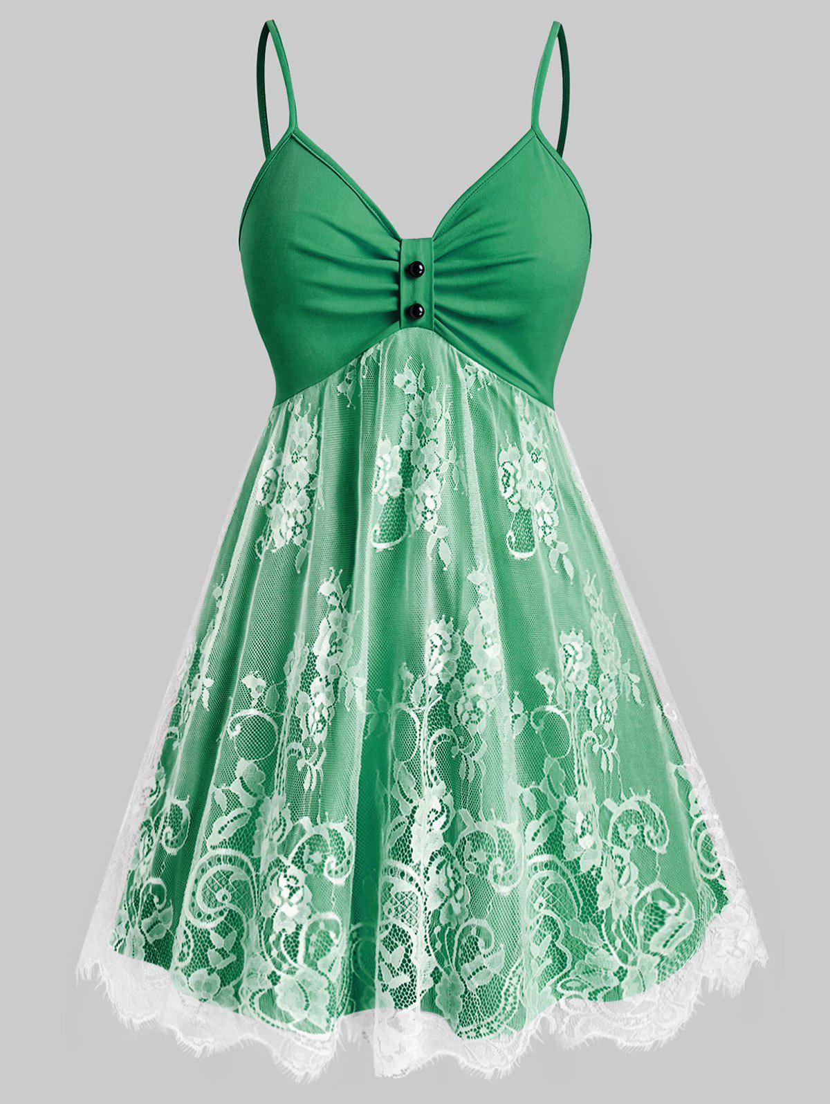 Plus Size Lace Overlay Fit and Flare Dress - DEEP GREEN 3X
