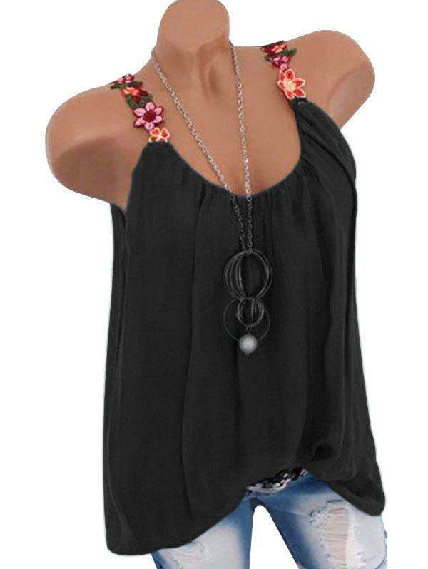Flower Embroidered Tunic Tank Top - BLACK M