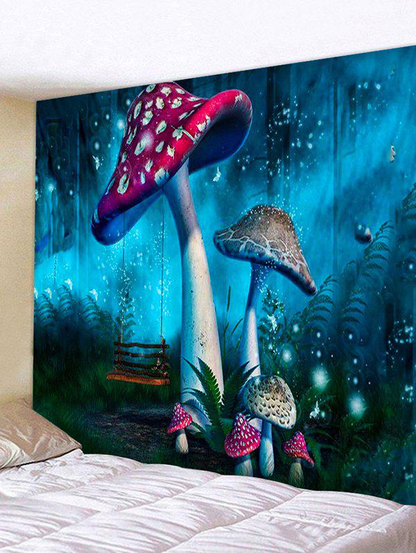 Forest Mushrooms Print Tapestry Wall Hanging Art Decoration - BLUE IVY W91 X L71 INCH